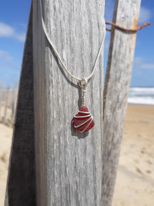 Rare Ruby Red Beachglass Necklace