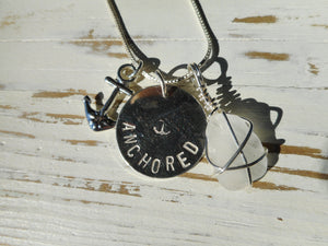 Hand Stamped Sterling Silver Anchored Necklace