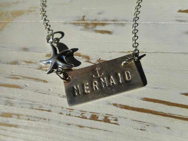 Hand Stamped Sterling Silver Mermaid Bar Necklace