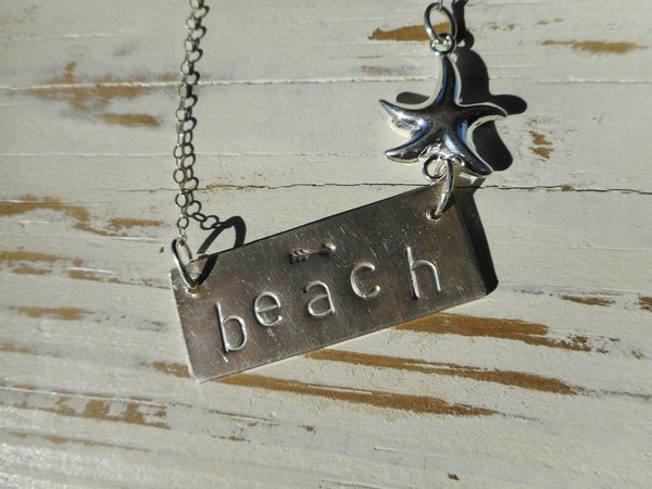 Hand Stamped Sterling Silver Coast Bar Necklace