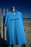 Borders Beach Shop Crew Neck T-Shirt | On Island Time logo on Front | Outer Banks Map on Back