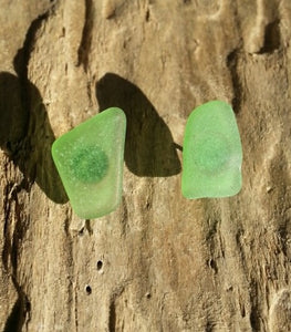 Beachglass Stud Earrings (Green)