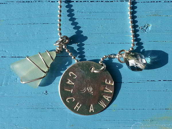 Hand Stamped Sterling Silver Catch A Wave Necklace