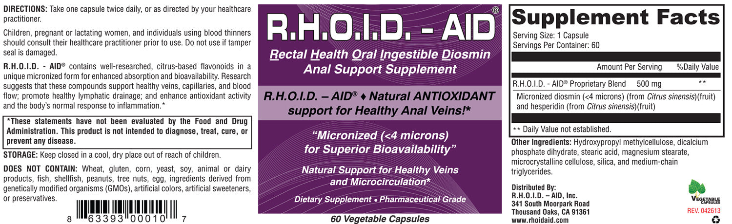 R.H.O.I.D. - AID | 100% Natural Anal Venous Support Supplement for Healthy Anal Veins