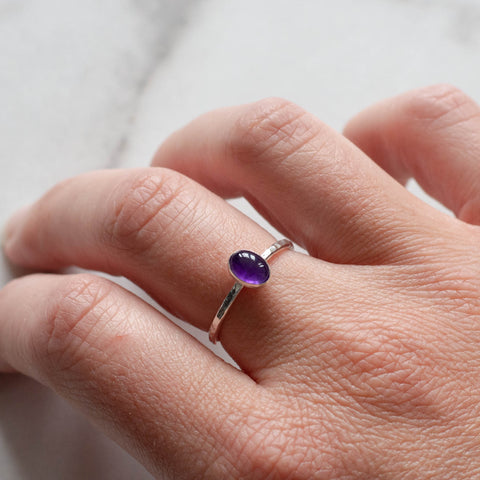 Amethyst Gemstone Ring - Small