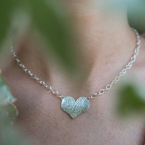 Aphrodite elegant handcrafted sterling silver hammered heart statement pendant necklace, unique delicate handmade jewellery