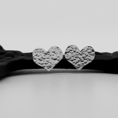 Aphrodite Hammered Heart Studs - Small