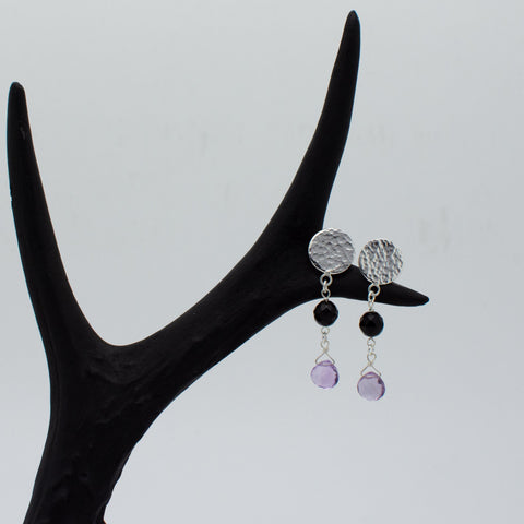 Artemis Black Onyx and Amethyst Earrings