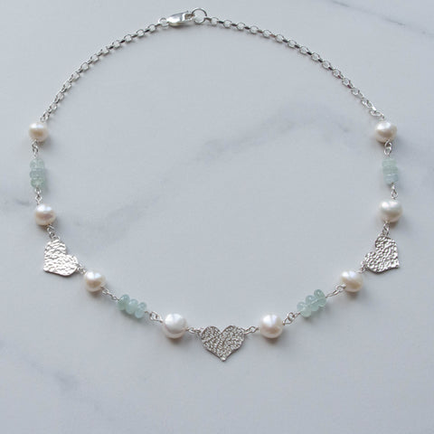 Aphrodite Aquamarine and Pearl Necklace