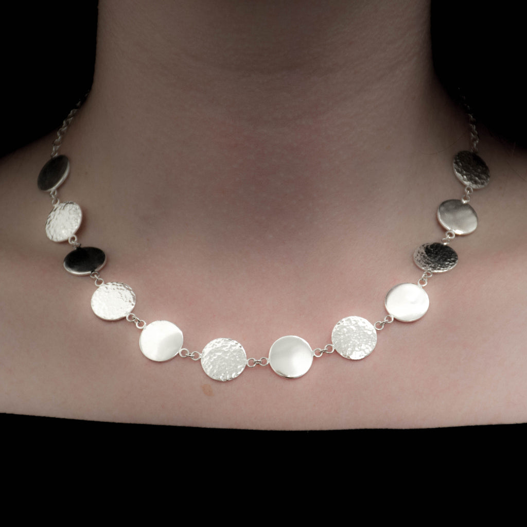 Artemis unique handcrafted jewellery sterling silver hammered moon circle statement necklace, elegant delicate handmade jewellery