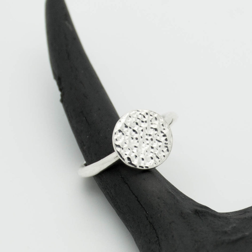 Artemis unique handcrafted jewellery sterling silver hammered moon circle stacking ring, elegant delicate handmade jewellery