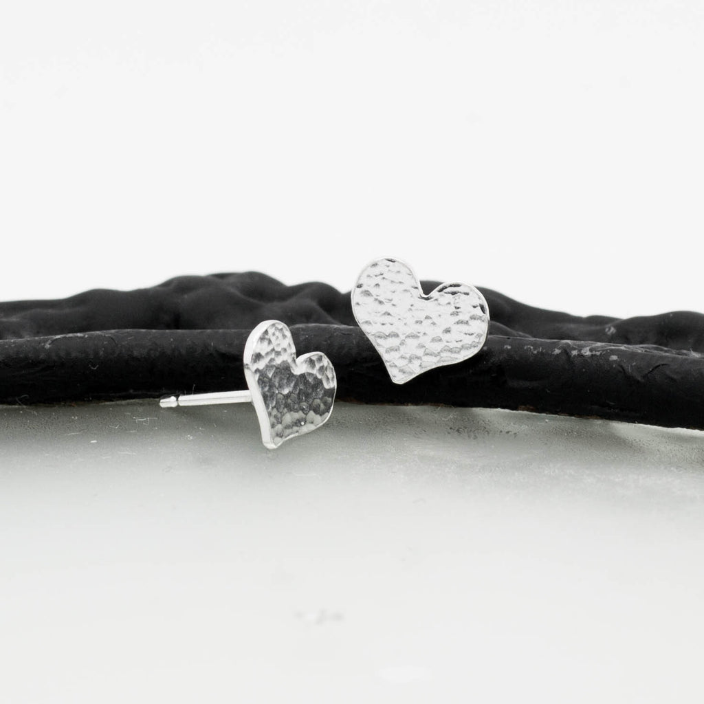 Aphrodite elegant handcrafted sterling silver hammered heart stud earrings, unique delicate handmade jewellery