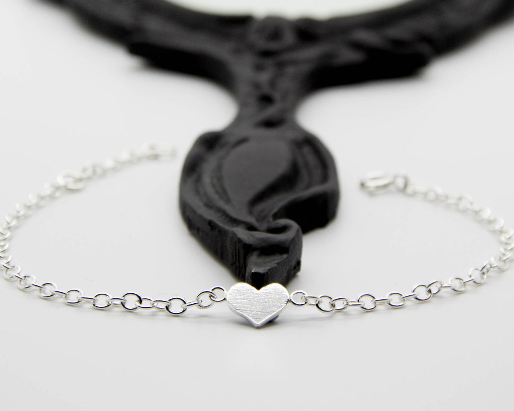 Aphrodite handcrafted jewellery sterling silver heart chain bracelet, unique handmade jewellery