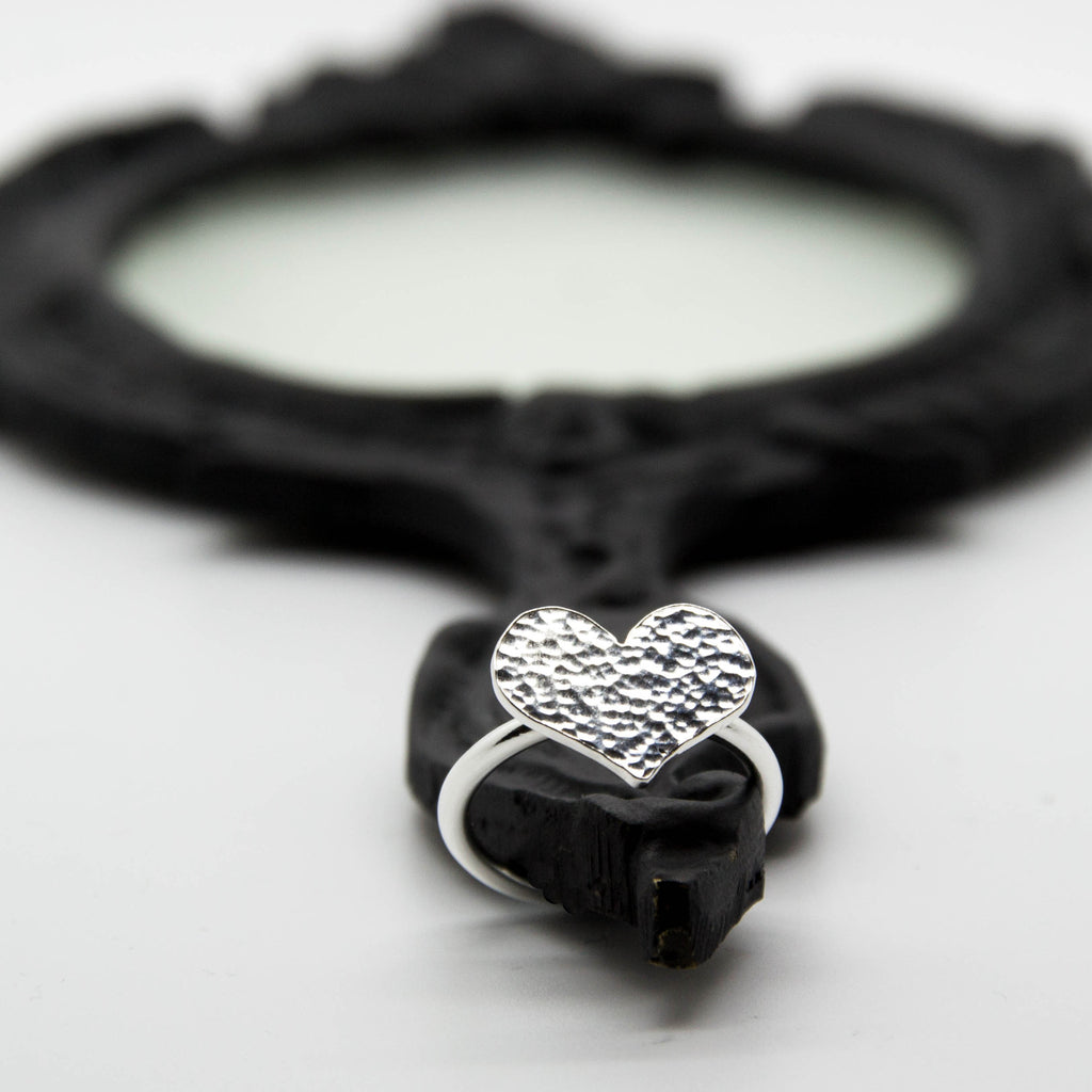 Aphrodite unique handcrafted jewellery sterling silver hammered heart statement ring, elegant handmade jewellery