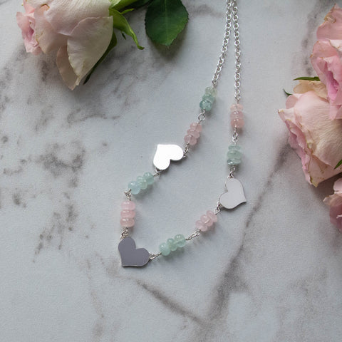 Aphrodite Aquamarine and Morganite Necklace