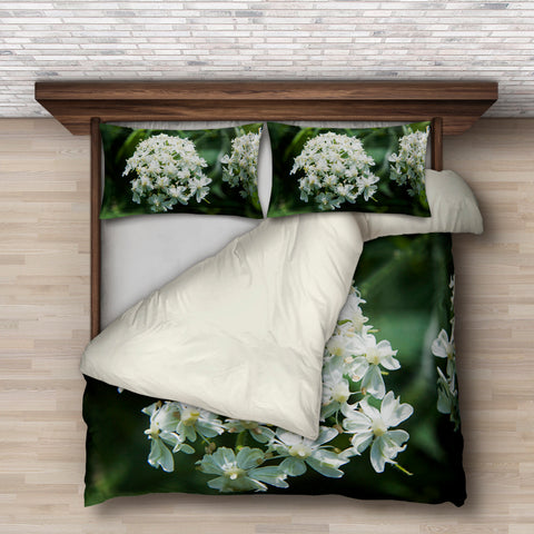 White Flower Bedding Set
