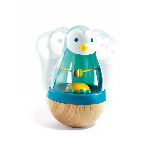 Djeco Toy- Roly Pingui Wobble Rattle DJ06407