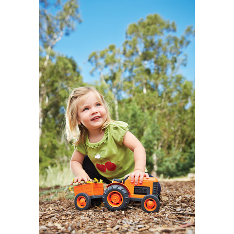 BigJigs Toy- Green Toys Orange Tractor Child Plays with Tractor BJGTTRT01042