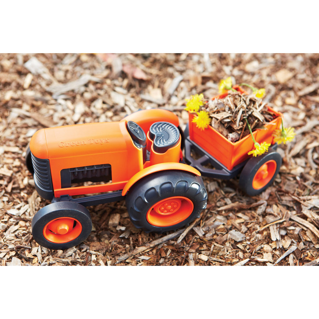 BigJigs Toy- Green Toys Orange Tractor in Action BJGTTRT01042