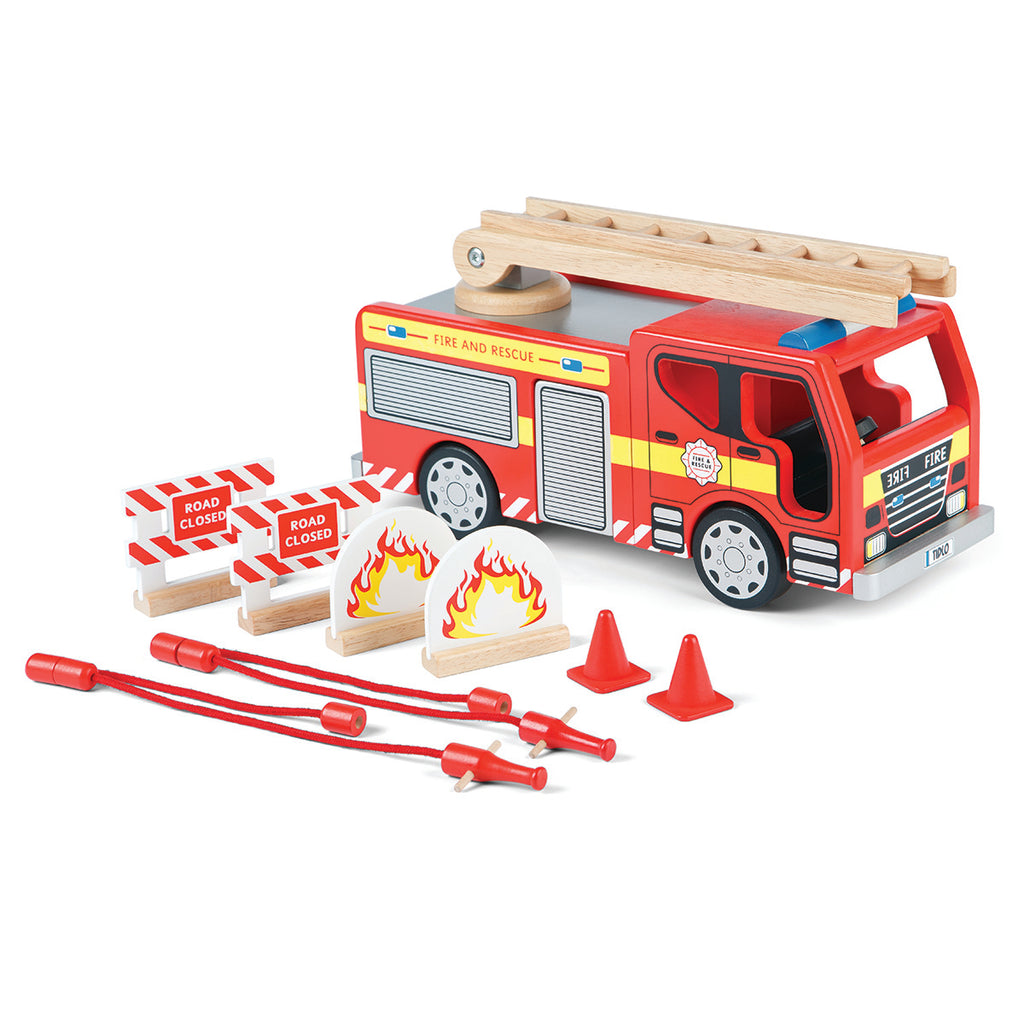 Wooden Fire Engine & Accessories Set