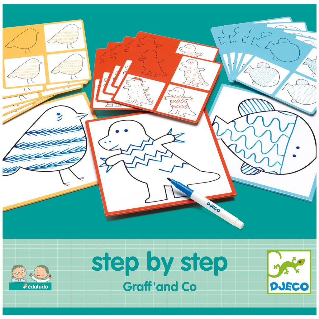 Djeco Colouring - Learn Step By Step Animals