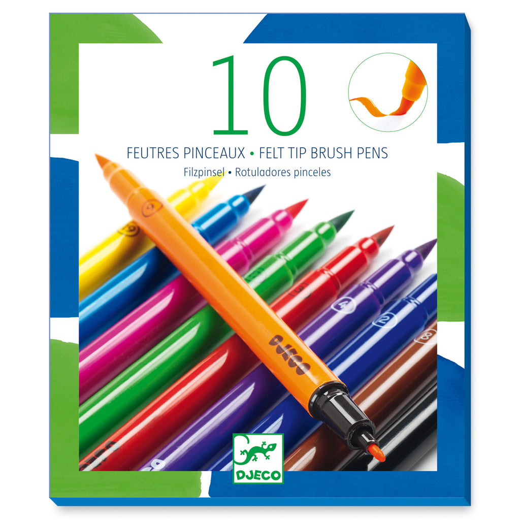 Djeco Colours - 10 Classic Felt Brush Pens