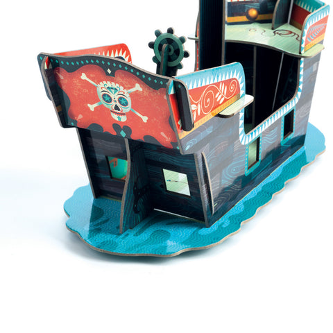 Djeco Toy- Pop to Play Pirate Boat Back View DJ07709
