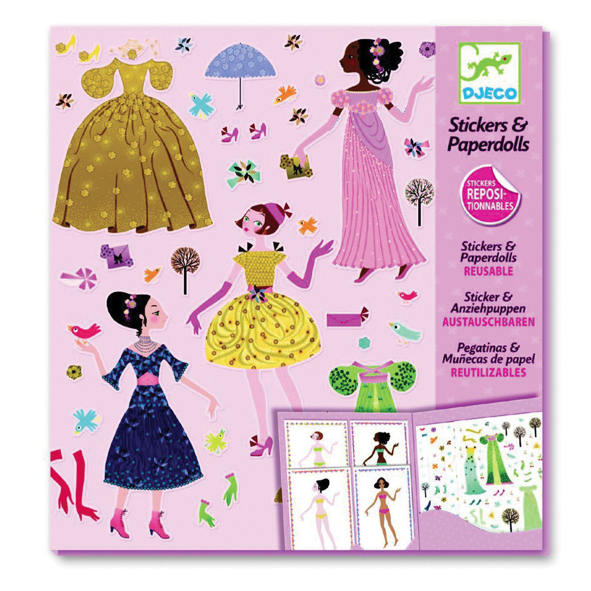 DJECO Stickers /& Paperdolls KNIGHTS Reusable Stick-on