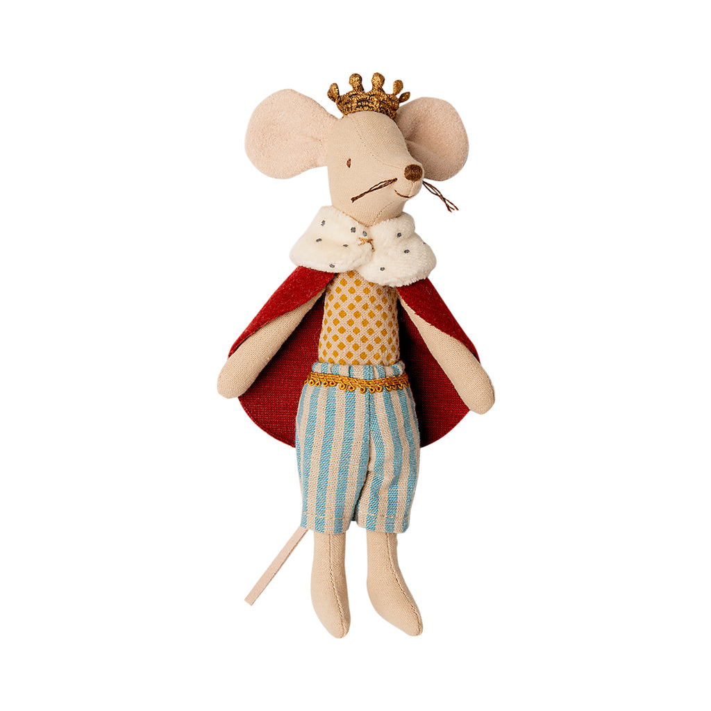 Maileg King Mouse with striped trousers, red ermine trimmed cloak and crown