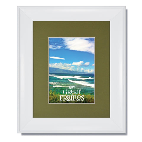 Metro White Picture Frame with Single Bayberry Mat and Clear Glass