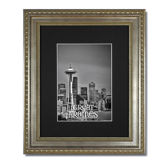 b19fdc6c60d Gallery Teak Stain Wood Picture Frames with Single White Mats and Clear  Glass