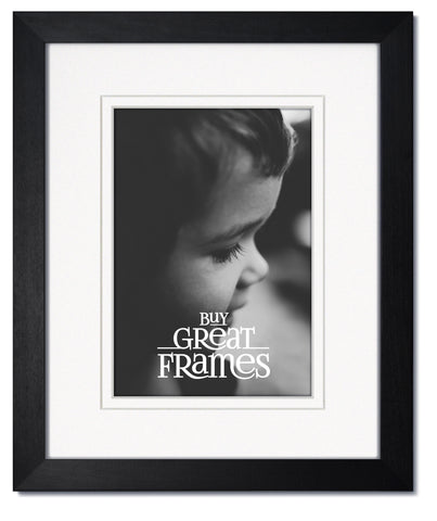 Madeline Black Wood Frames with White/White Mats and Clear Glass