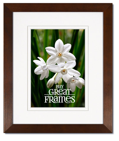 Madeline Walnut Wood Frames with White/White Mats and Clear Glass