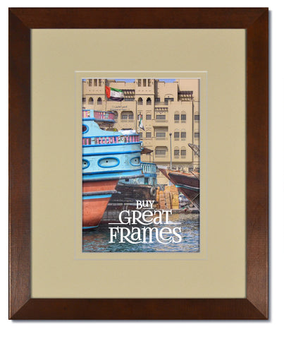 Madeline Walnut Wood Frames with Ivory/Ivory Mats and Clear Glass