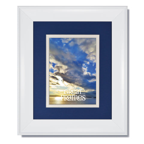16x20 metro white picture frame with clear glass and double nautica bluewhite mat for