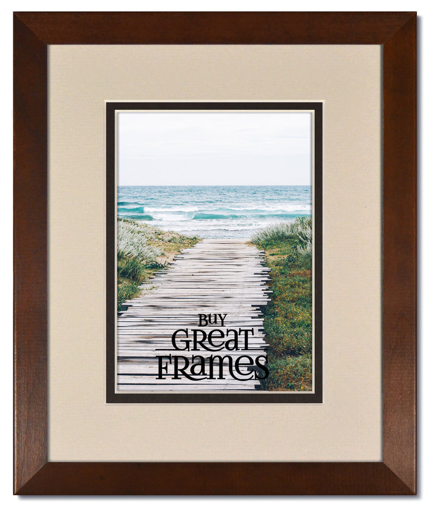 Madeline Walnut Wood Frames with Oyster/Espresso Mats and Clear Glass