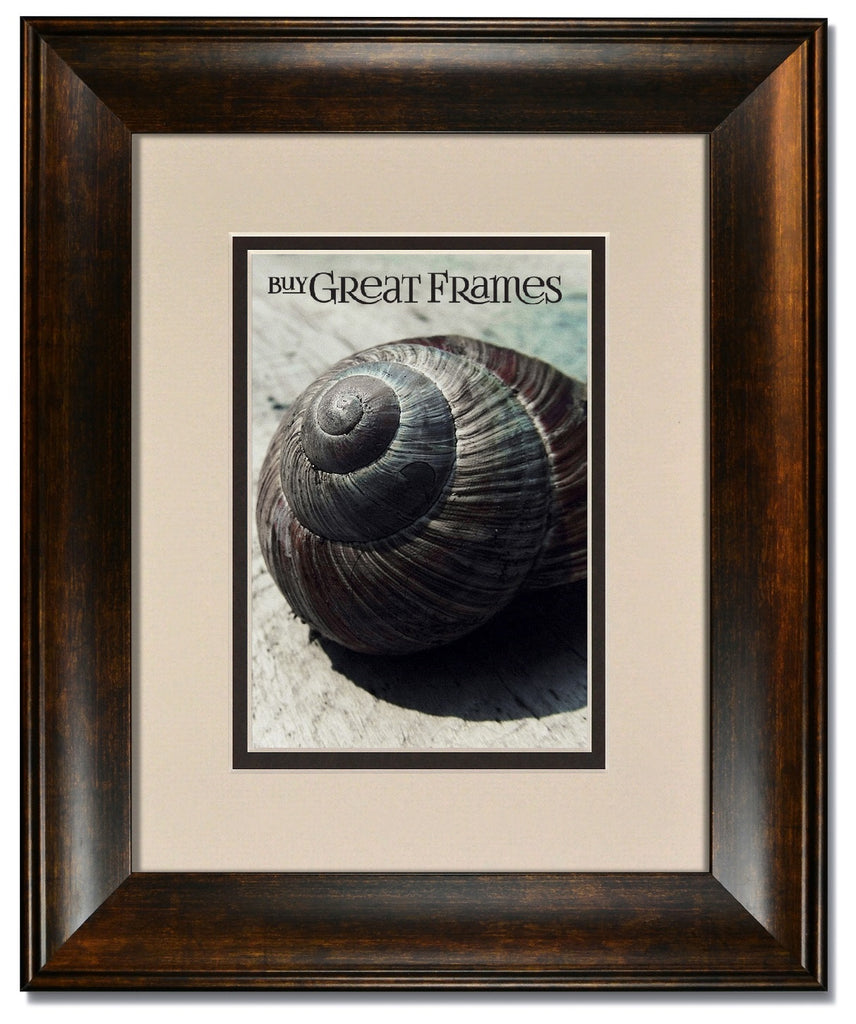 Metro Bronze Picture Frame with Oyster/Espresso Mats and Clear Glass