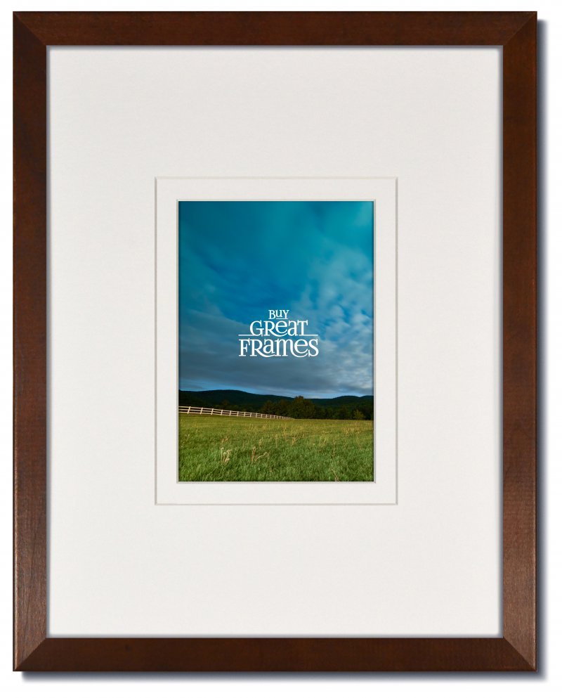 Madeline Walnut Wood Frame with Clear Glass and White/White Wide Reveal Wedding Mat