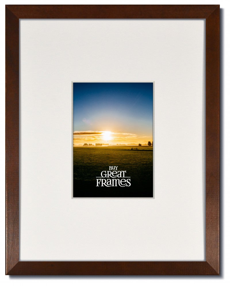Madeline Walnut Wood Frame with Clear Glass and 8-ply White Gallery Mat