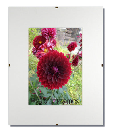 GreatClip 11x14 Glass and Clip Frames with Single White Mats for 8x10