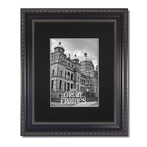 Ornate Heritage Black Frame with Clear Glass and Single Black Mat