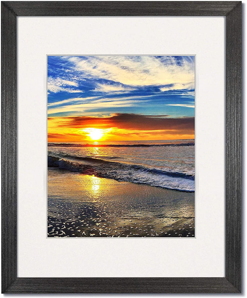 Coastal Wood Charcoal wood frames with single white mats.