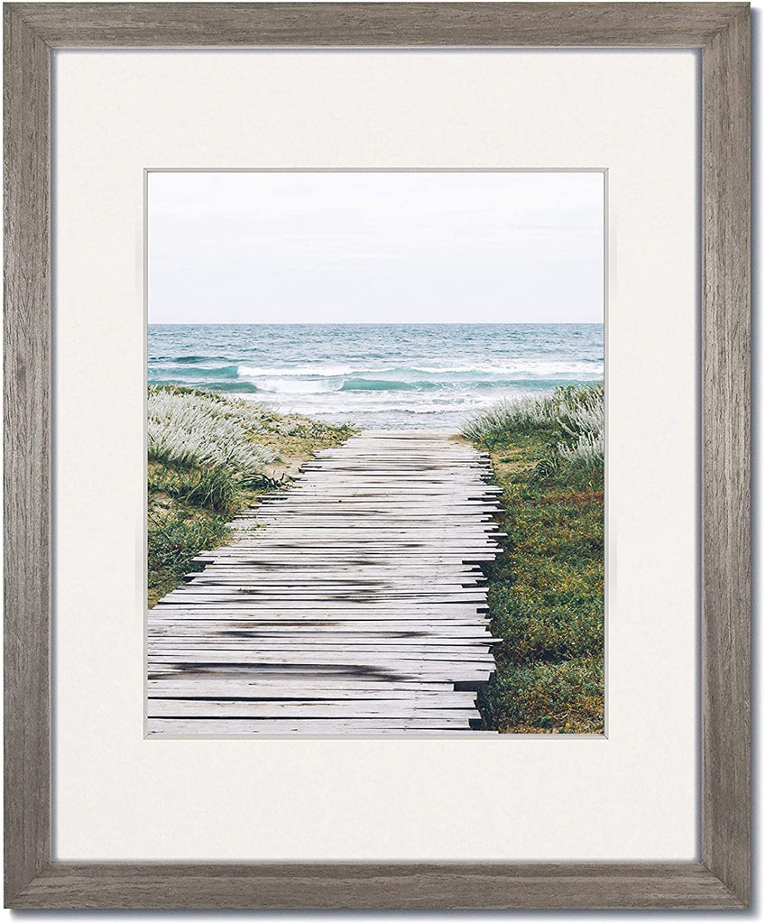 Coastal Wood Light Grey wood frames with single white mats.