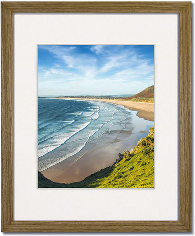 Coastal Wood Light Walnut wood frames with single white mats.