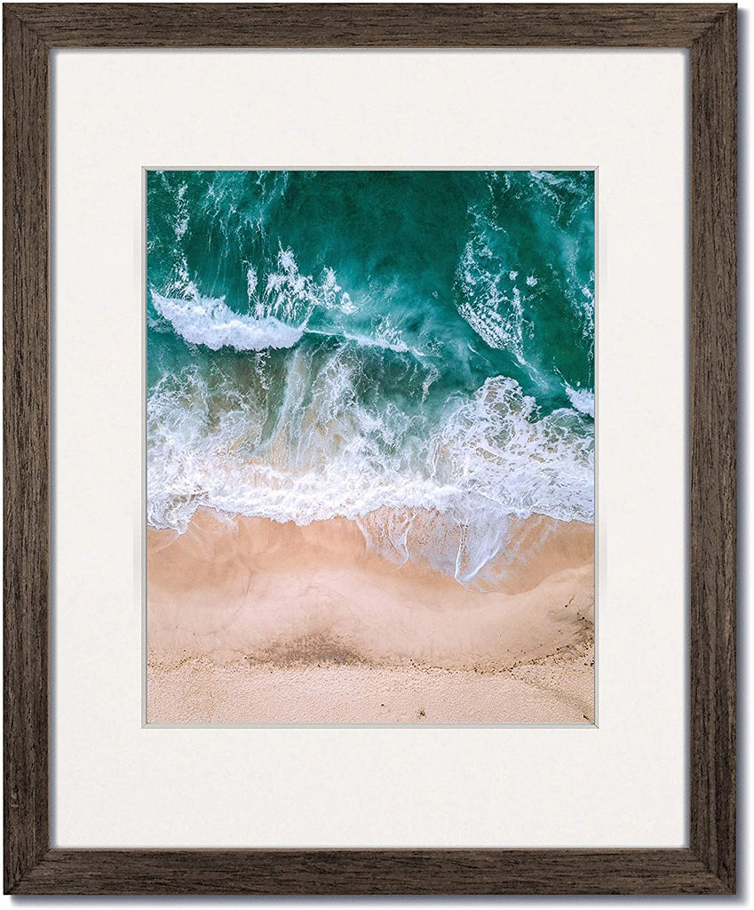 Coastal Wood Walnut wood frames with single white mats.