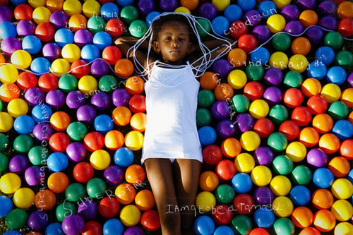 Life is a Colourful Ball Game (Girl) 60 x 90cm - Framed (FH)