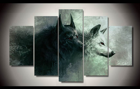 BLACK AND WHITE WOLF CANVAS SET