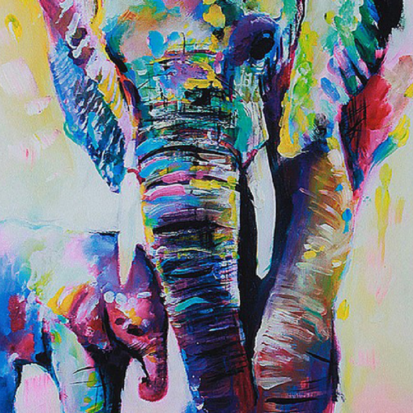 ELEPHANT WITH SON CANVAS