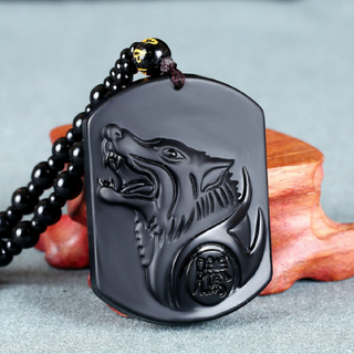 BLACK OBSIDIAN CARVED WOLF HEAD PENDANT NECKLACE