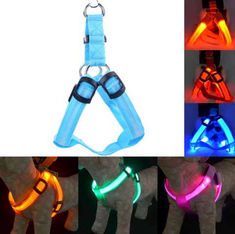 Nylon LED Dog Harness Pet Cat Dog Collar Harness